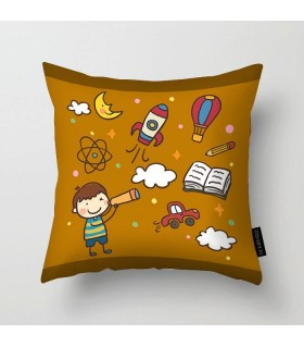 kid with a telescope printed pillow