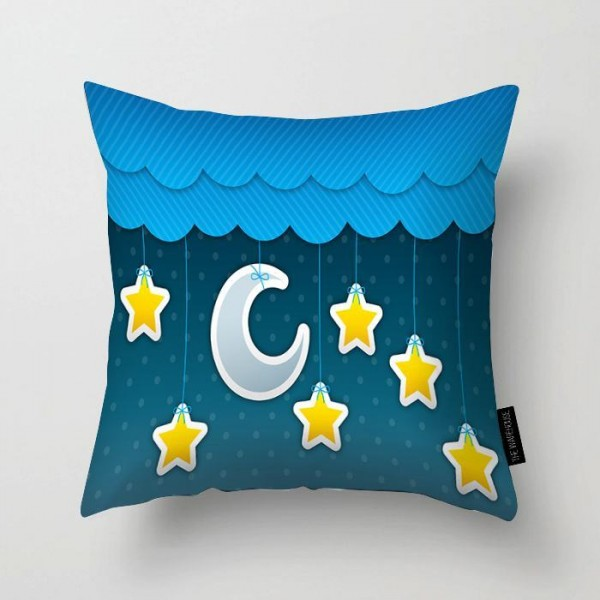 Moon And Stars Sky Printed Pillow