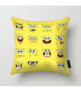 spongebob crazy faces printed pillow