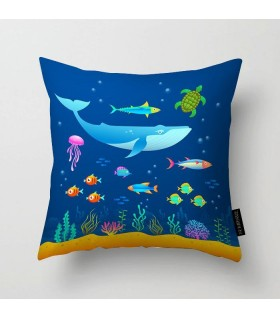 underwater sea printed pillow