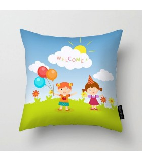 welcome kids printed pillow