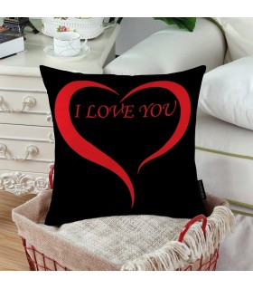 I Love You Heart art Printed Pillow