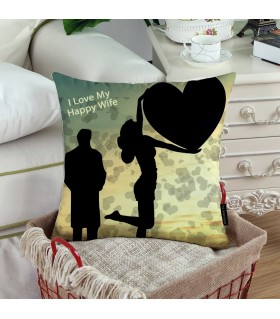MY LOVE MY HAPPY WIFE PRINETD pillow
