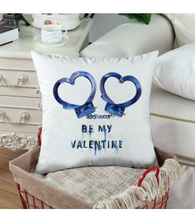 Be Mine Valentine heart handcuff Printed Pillow
