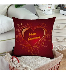 big red heart happy anniversary printed pillow