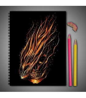 abstract skull art printed notebook