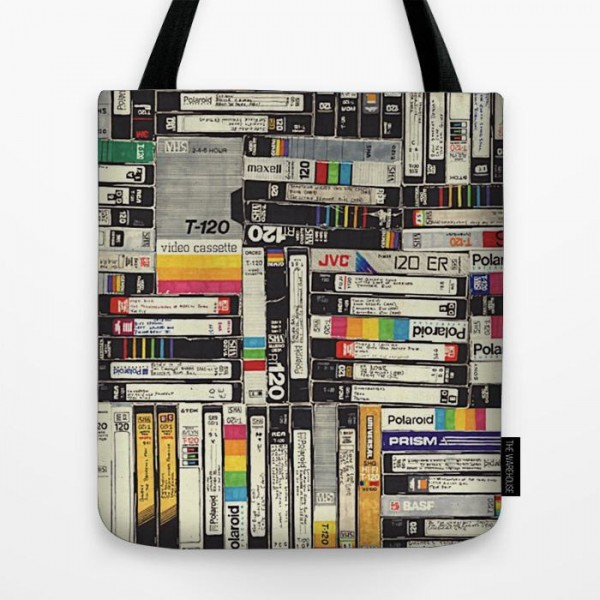 Vcr Cassette Art Printed Tote Bag