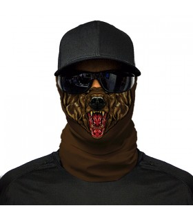 bear face printed bandana mask
