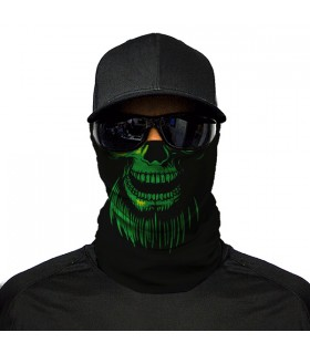 green skull printed bandana mask