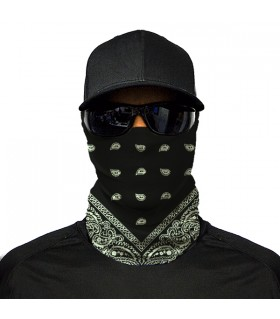 black paisley design printed bandana mask