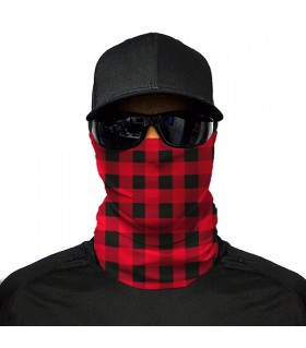 red and black check printed bandana mask