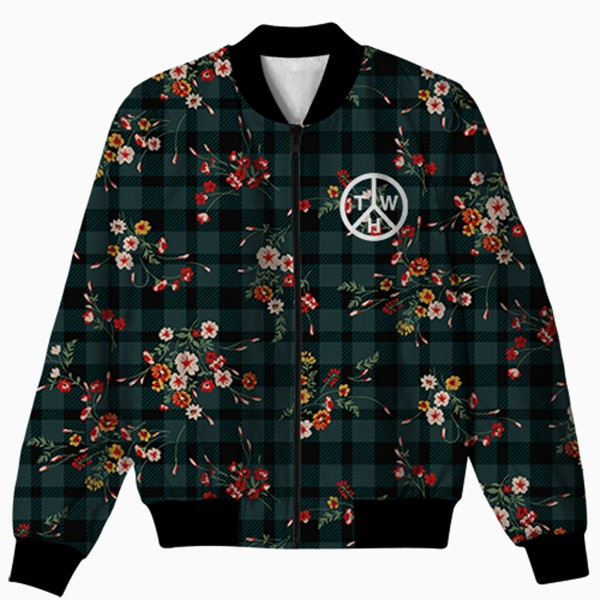 Check And Floral All Over Printed Jacket