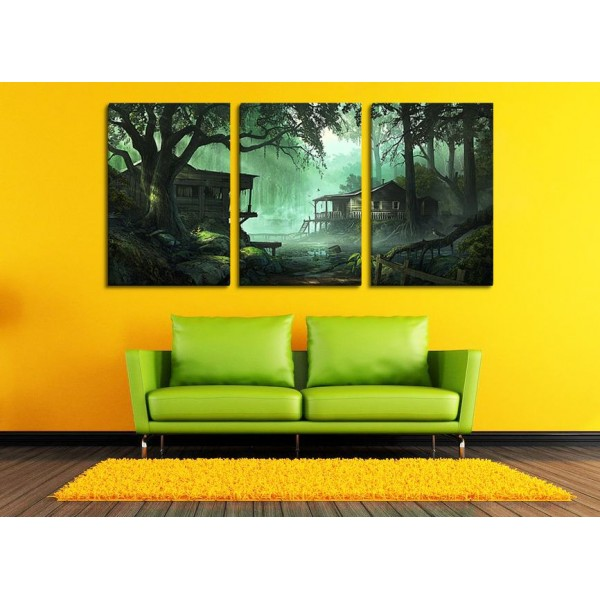 Set Of 3 House In The Jungle Canvas Frames