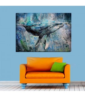 watercolor whale canvas frame