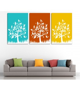 set of 3 trees canvas frames