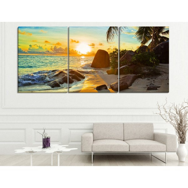 Set Of 3 Tropical Beach Canvas Frames