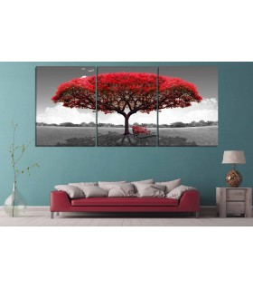set of 3 red tree canvas frames