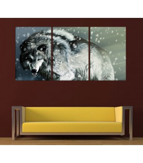 set of 3 White wolf canvas frames