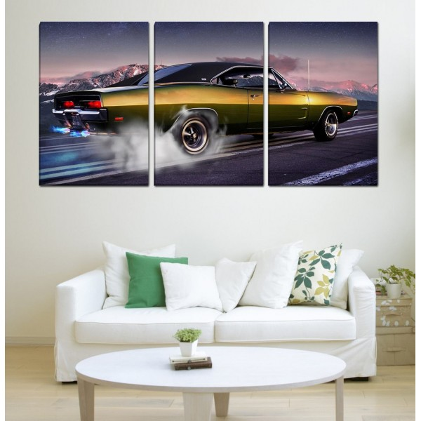 Set Of 3 Classic Car Canvas Frames