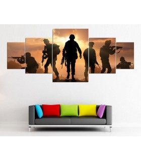 set of 5 army canvas frames