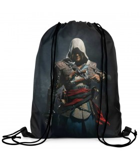 assassins creed black flag printed drawstring bag