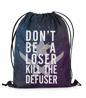 kill the defuser printed drawstring bag