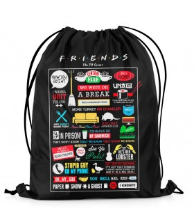 friends printed drawstring bag