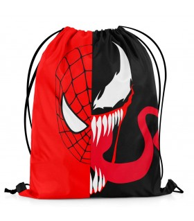 spider-man and venom printed drawstring bag