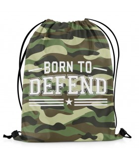 born to defend printed drawstring bag