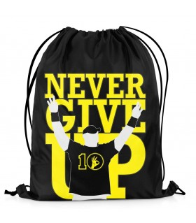 never give up printed drawstring bag