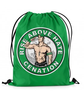 rise above hate printed drawstring bag