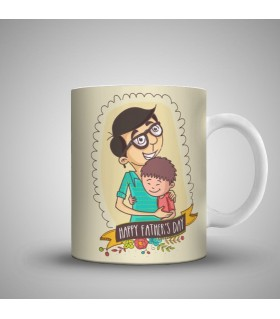 happy fathers day dad and son art printed mug