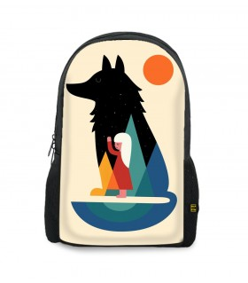 girl wolf art printed backpacks