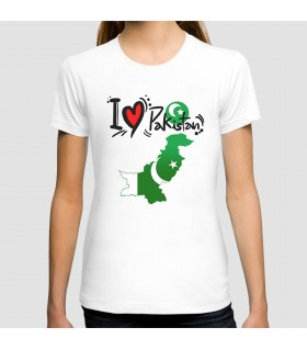 i love pakistan map graphic t-shirt