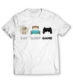 eat sleep game printed graphic t-shirt