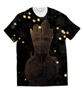 glowing groot all over printed t-shirt