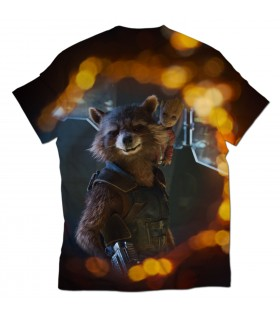 rocket raccoon and baby groot all over printed t-shirt