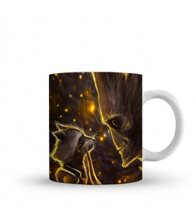 rocket raccoon and groot printed mug