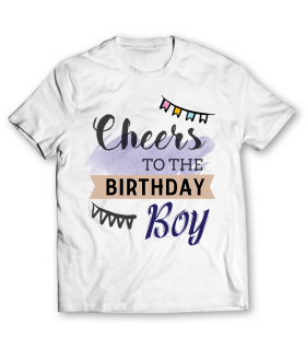 cheers to the birthday printed graphic t-shirt