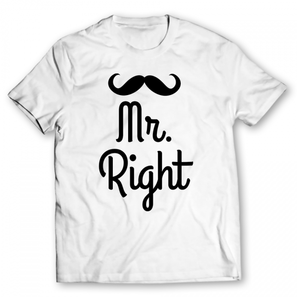 mr right printed graphic t-shirt