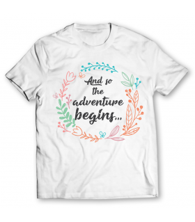 adventure begins printed graphic t-shirt
