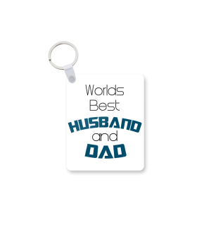 husband and dad printed keychain