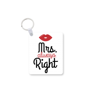 mrs always right printed keychain