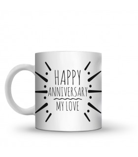happy anniversary printed mug