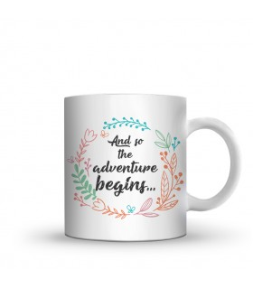adventure begins printed mug