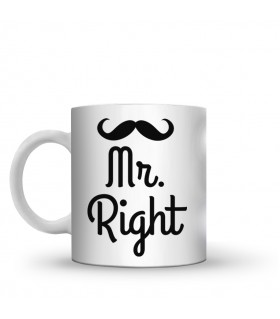 mr right printed mug