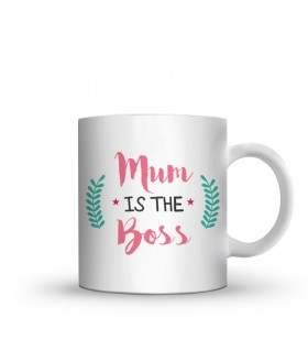 mum is the boss printed mug