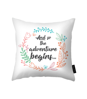 adventure begins printed pillow