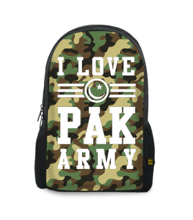 i love pak army printed backpacks