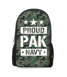 proud pak navy printed backpacks